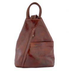 Fioretta Italian Genuine Leather Top Handle Backpack Purse Shoulder Bag Handbag Rucksack For Women - Cognac Brown