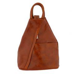 Fioretta Italian Genuine Leather Top Handle Backpack Purse Shoulder Bag Handbag Rucksack For Women - Tan Brown
