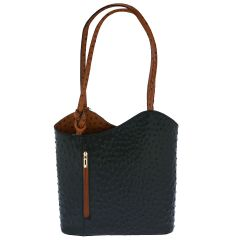 Fioretta Italian Genuine Leather Ostrich Pattern Top Dual Handles Tote Shoulder Bag Backpack Handbag For Women - Black Brown
