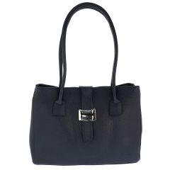 Fioretta Italian Genuine Leather Shoulder Bag Tote Handbag For Women - Navy Blue