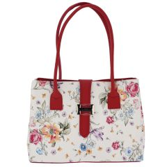 Fioretta Italian Genuine Leather Shoulder Bag Tote Handbag For Women - Red