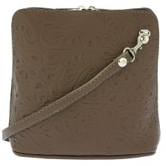 Fioretta Italian Embossed Genuine Leather Crossbody Shoulder Bag Clutch Handbag For Women - Beige