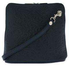 Fioretta Italian Embossed Genuine Leather Crossbody Shoulder Bag Clutch Handbag For Women - Blue