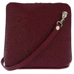 Fioretta Italian Embossed Genuine Leather Crossbody Shoulder Bag Clutch Handbag For Women - Red