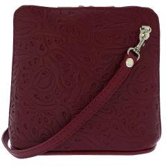 Fioretta Italian Embossed Genuine Leather Crossbody Shoulder Bag Clutch Handbag For Women - Red