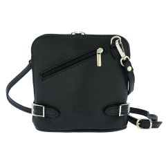 Fioretta Italian Genuine Leather Crossbody Bag Clutch Handbag For Women - Black