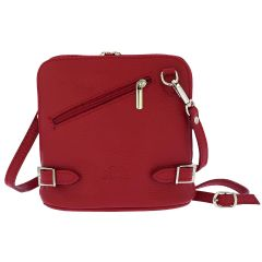 Fioretta Italian Genuine Leather Crossbody Bag Clutch Handbag For Women - Red