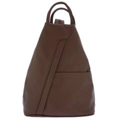 Fioretta Italian Genuine Leather Top Handle Backpack Purse Shoulder Bag Handbag Rucksack For Women - Brown