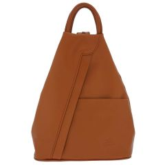 Fioretta Italian Genuine Leather Top Handle Backpack Purse Shoulder Bag Handbag Rucksack For Women - Light Brown