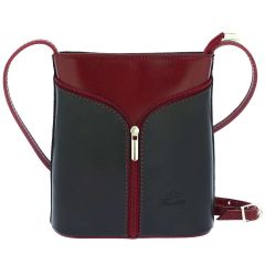 Fioretta Italian Genuine Leather Crossbody Shoulder Bag Handbag For Women - Black Red
