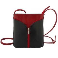 Fioretta Italian Genuine Leather Crossbody Shoulder Bag Handbag For Women - Black Red