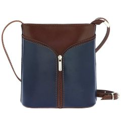 Fioretta Italian Genuine Leather Crossbody Shoulder Bag Handbag For Women - Blue Brown