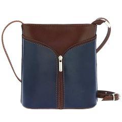 Fioretta Italian Genuine Leather Crossbody Shoulder Bag Handbag For Women - Blue Brown