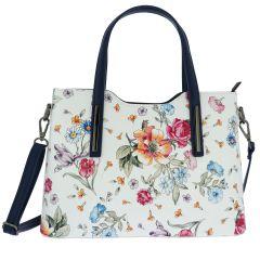 Fioretta Italian Genuine Leather Flower Pattern Top Dual Handles Tote Shoulder Crossbody Handbag For Women - Blue