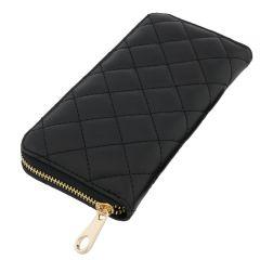 Fioretta Italian Genuine Leather Quilted Wallet For Women Credit Card Organizer - Black