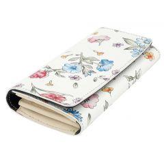 Fioretta Italian Genuine Leather Wallet For Women Credit Card Organizer Flowers Pattern - Black