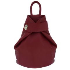 Fioretta Italian Genuine Leather Top Handle Backpack Handbag For Women - Red