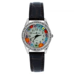 Venetian Crystals Murano Glass Watch With Leather Band - Brown