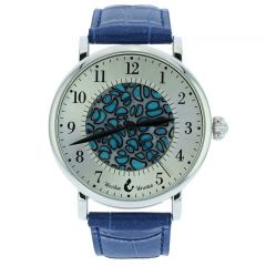 Murano Glass Men's Millefiori Watch With Leather Band - Blue