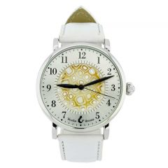 Murano Glass Men's Millefiori Watch With Leather Band - White