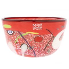 Modern Art Murano Glass Bowl - Red