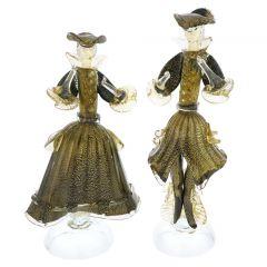 Venetian Goldonian Couple - Black and Gold
