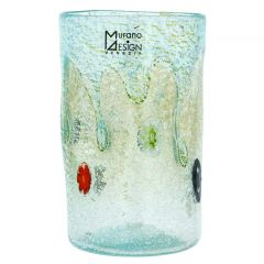 Murano Tall Drinking Glass - Silver Lava Aqua