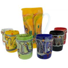 Modern Art Murano Glass Decanter Set - Carafe And Six Glasses