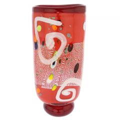 Modern Art Murano Glass Vase - Red