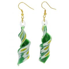 Green Daisy Spiral Earrings