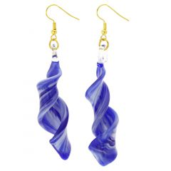 Venetian Marble Spiral Earrings - Blue