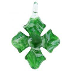 Venetian Marble Cross Pendant - Emerald