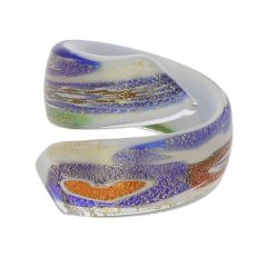 Millefiori Lattimo Golden spiral ring