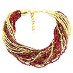 Gloriosa 24 Strand Seed Bead Murano Bracelet - Red and Gold
