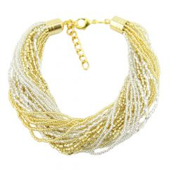 Gloriosa 24 Strand Seed Bead Murano Bracelet - Gold and Silver