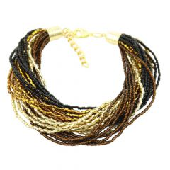 Gloriosa 24 Strand Seed Bead Murano Bracelet - Topaz and Gold