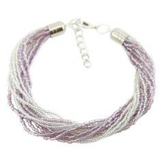 Gloriosa 12 Strand Seed Bead Murano Bracelet - Silver Purple