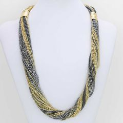 Dogaressa 48 Strand Necklace and Bracelet- Gold and Grey