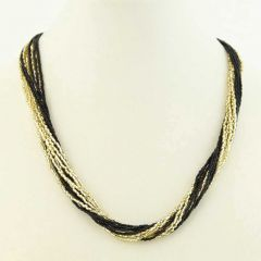 Gloriosa 12 Strand Seed Bead Murano Necklace - Black and Gold