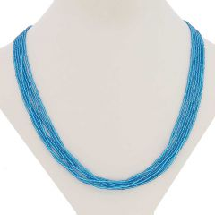 Six Strand Seed Bead Necklace - Aqua Blue