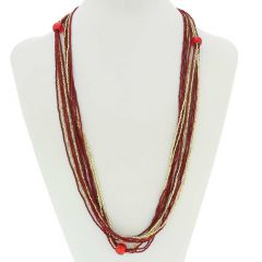 Stella Seed Bead Long Murano Necklace - Red and Gold