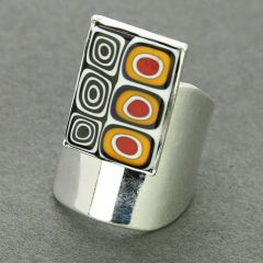 Murano Mosaic Rectangular Ring - Black White and Yellow