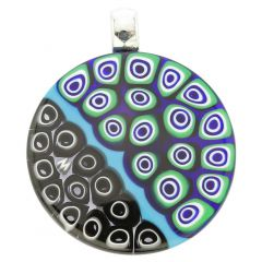 Abstract Millefiori Round Pendant - Blue and Black