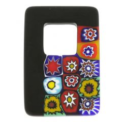 Black Millefiori Murano Glass Pendant - Rectangular