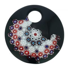 Black and Red Millefiori Murano Glass Pendant - Round