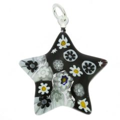Millefiori Star Pendant - Black and White