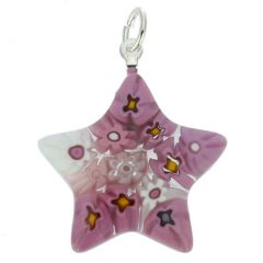 Millefiori Star Pendant - Pink
