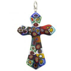 Color Splash Millefiori Elegant Cross pendant
