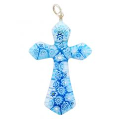 Tender Blue Millefiori Elegant Cross Pendant