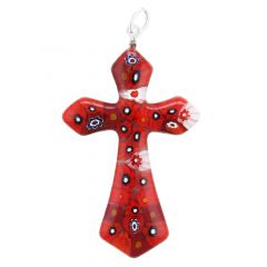 Red Millefiori Elegant Cross Pendant